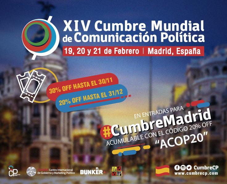 Los socios de ACOP tendrán un descuento en la  XIV Cumbre Mundial de Comunicación Política