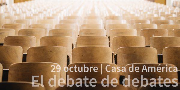 cartel del evento que organiza acop en casa de america donde se analizan los debates electorales de las ultimas campañas electorales